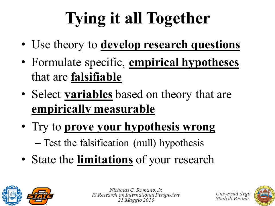 Tying it all Together Use theory to develop research questions