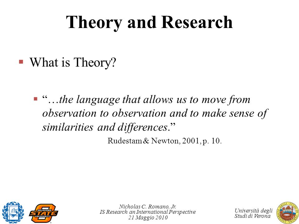 Theory and Research What is Theory