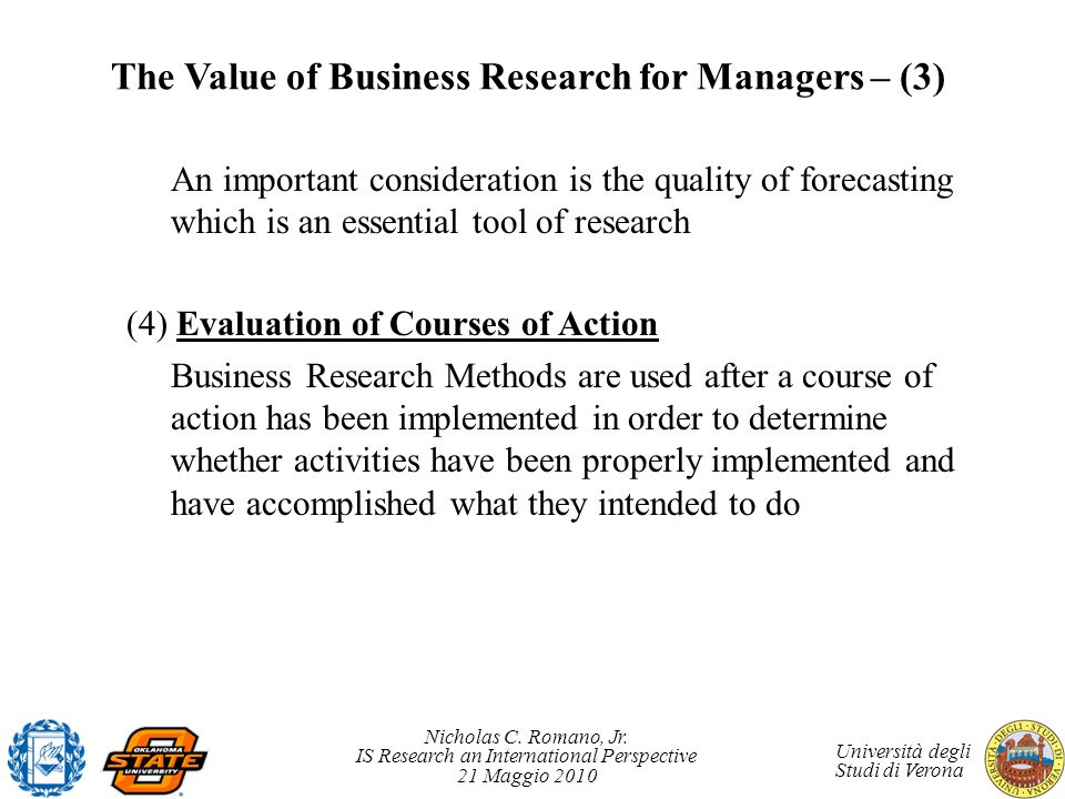 The Value of Business Research for Managers – (3)