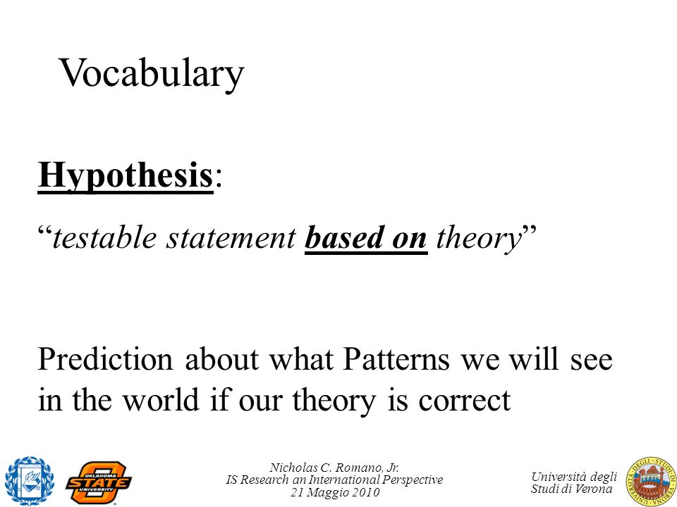 Vocabulary Hypothesis: testable statement based on theory