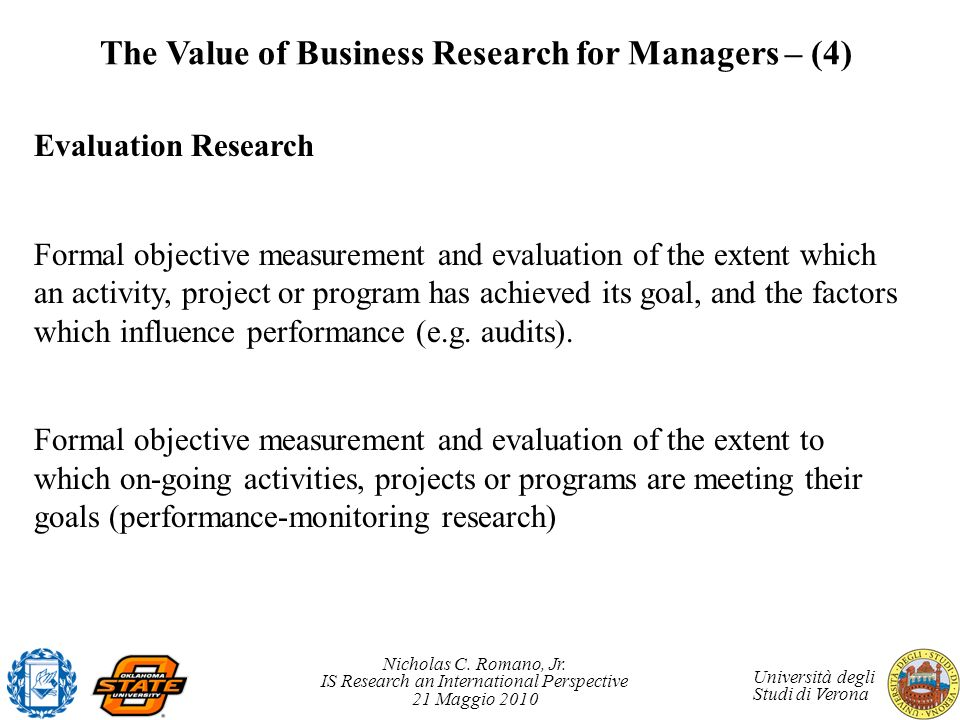 The Value of Business Research for Managers – (4)