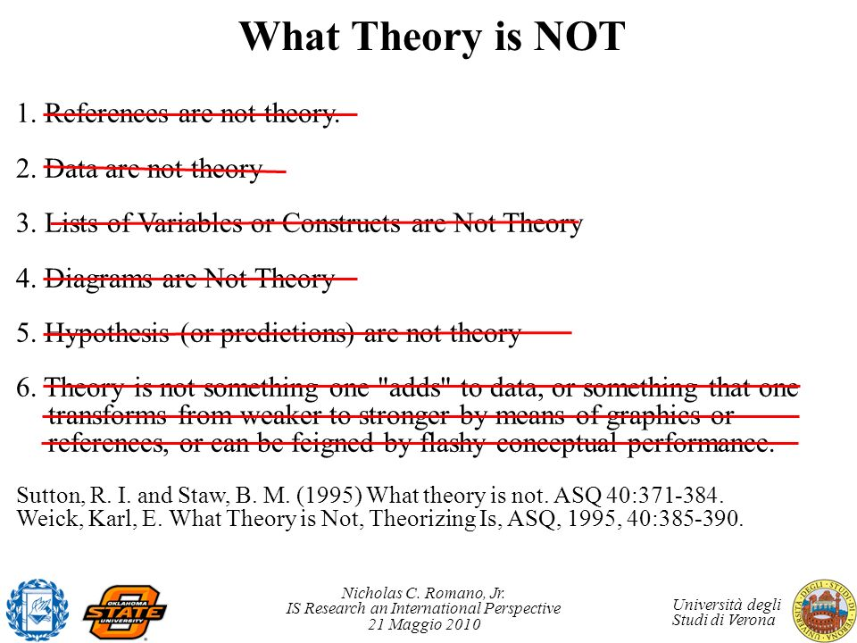 What Theory is NOT 1. References are not theory.