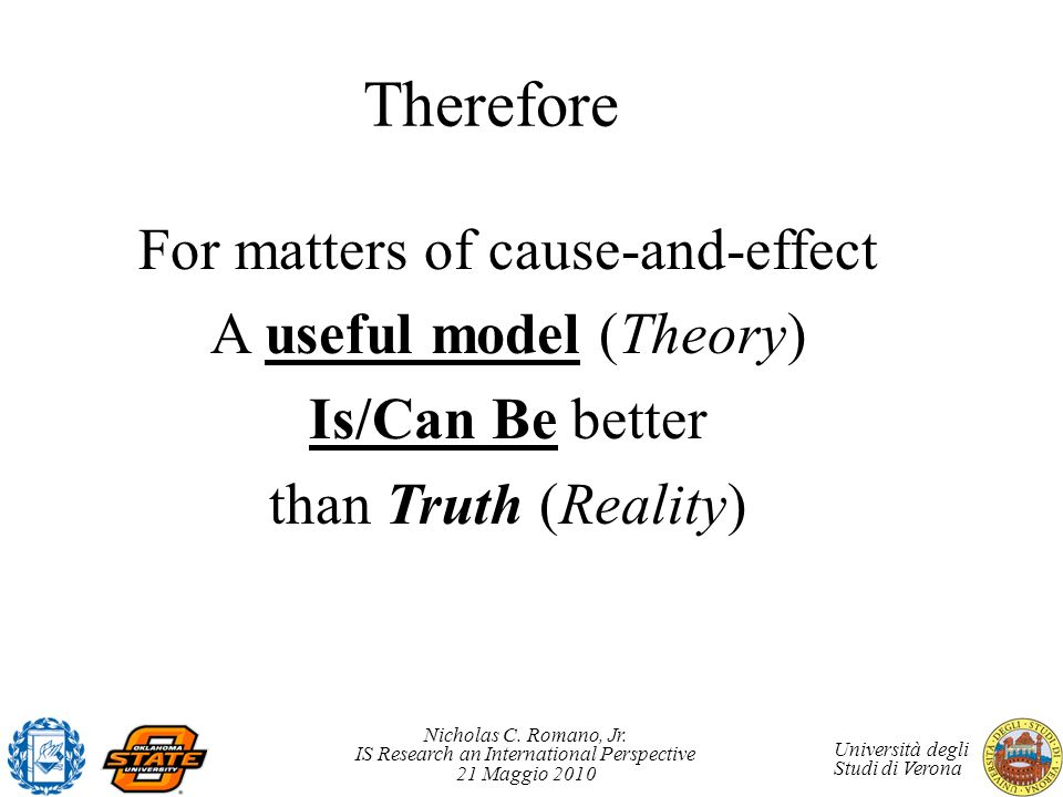 Therefore For matters of cause-and-effect A useful model (Theory)