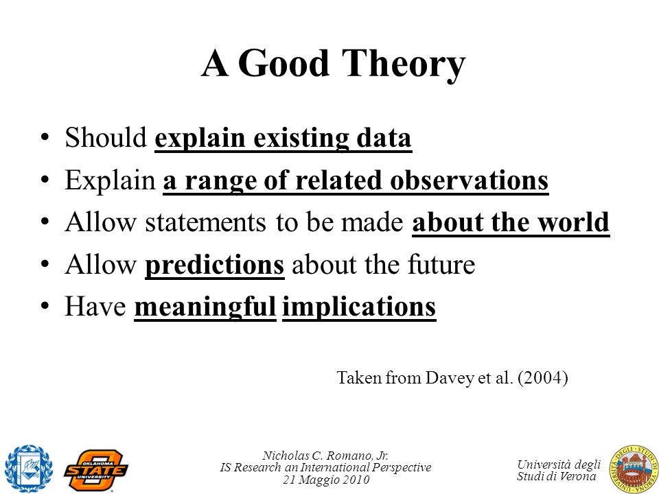 A Good Theory Should explain existing data