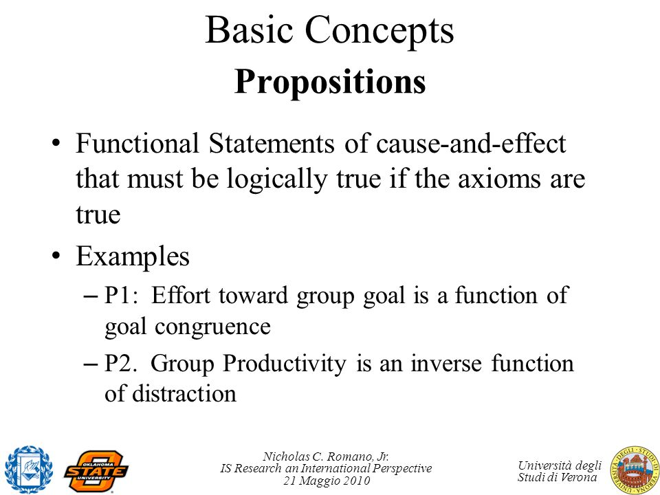 Basic Concepts Propositions