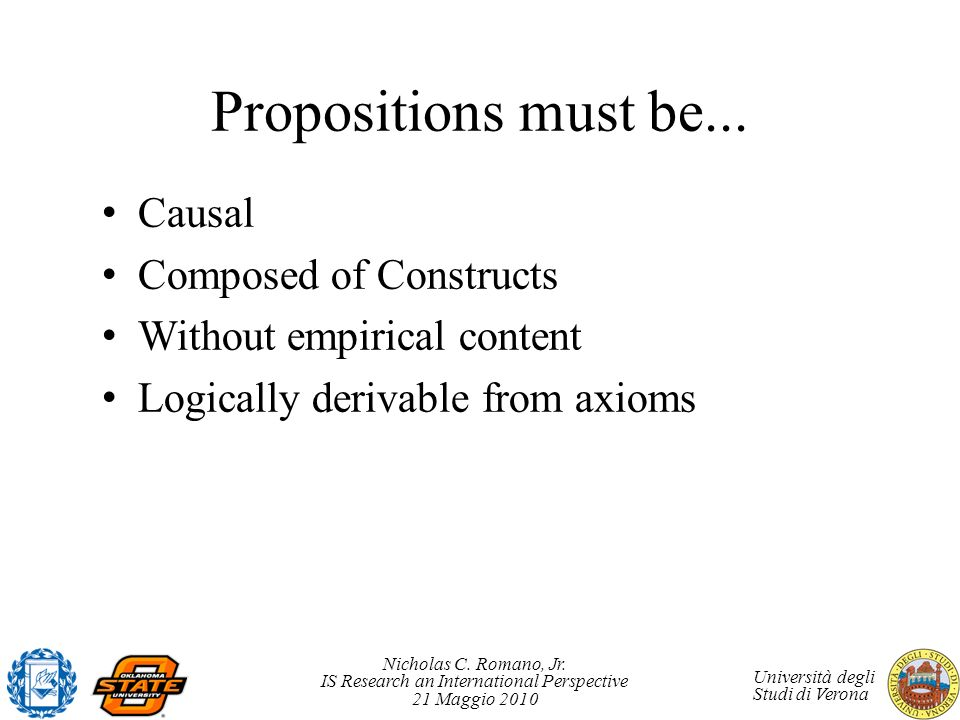 Propositions must be... Causal Composed of Constructs