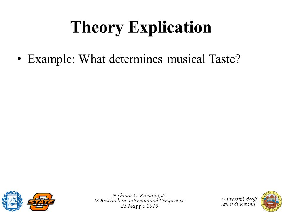 Theory Explication Example: What determines musical Taste