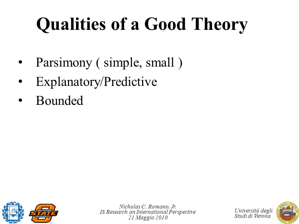 Qualities of a Good Theory
