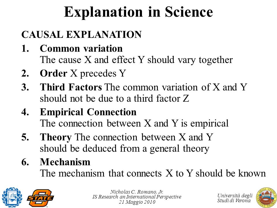 Explanation in Science