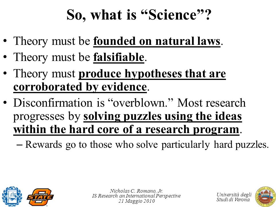 So, what is Science Theory must be founded on natural laws.