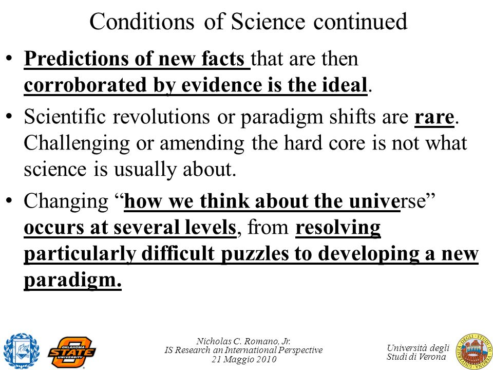 Conditions of Science continued