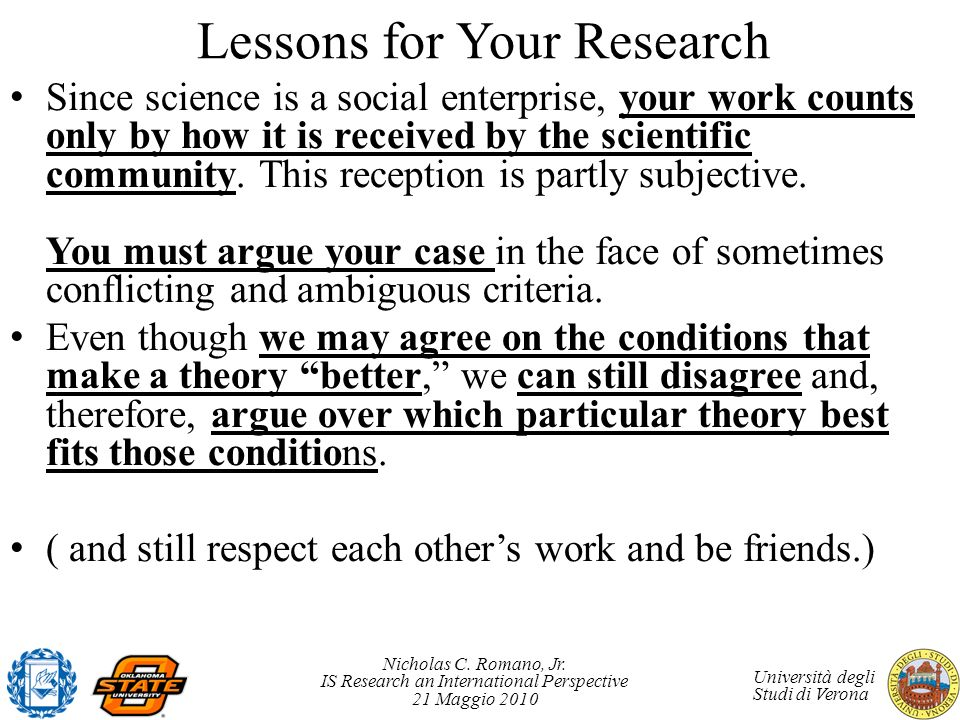 Lessons for Your Research