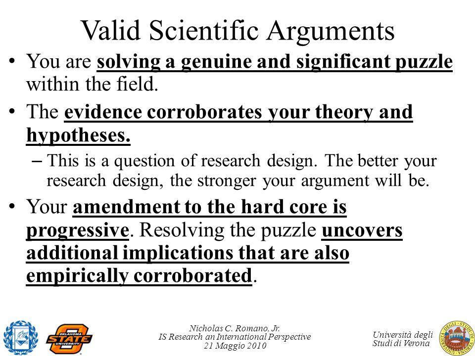 Valid Scientific Arguments