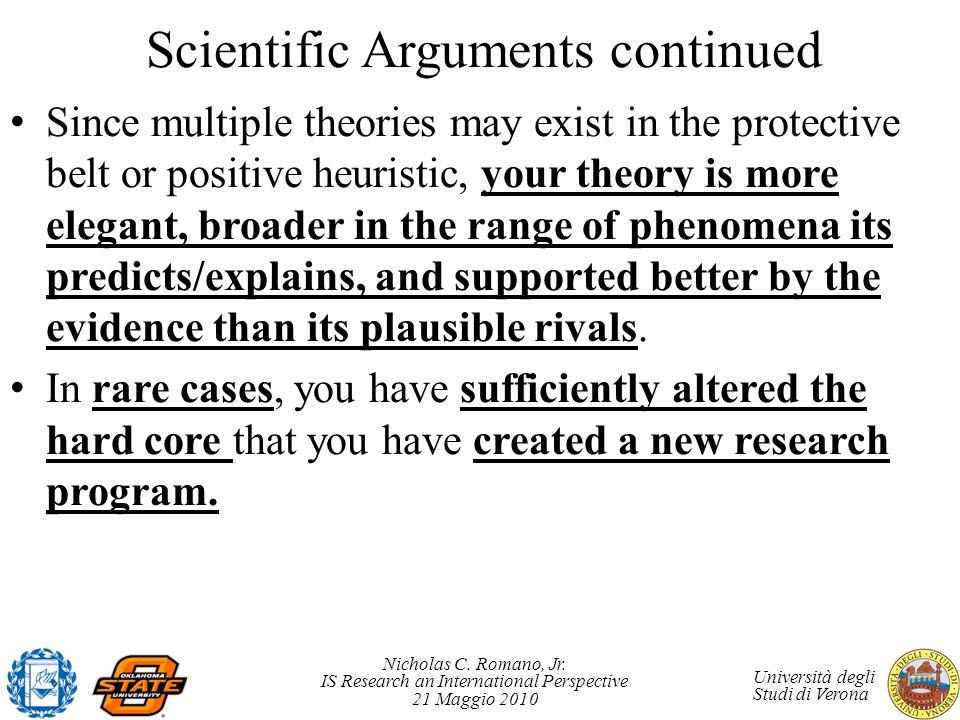 Scientific Arguments continued