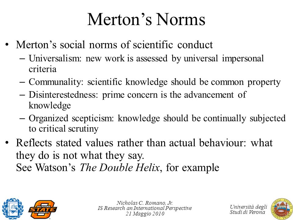 Merton's Norms Merton's social norms of scientific conduct