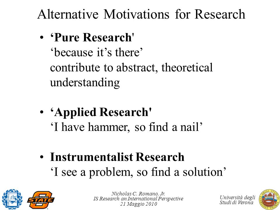 Alternative Motivations for Research