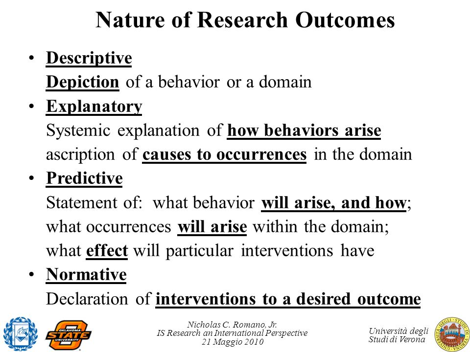 Nature of Research Outcomes