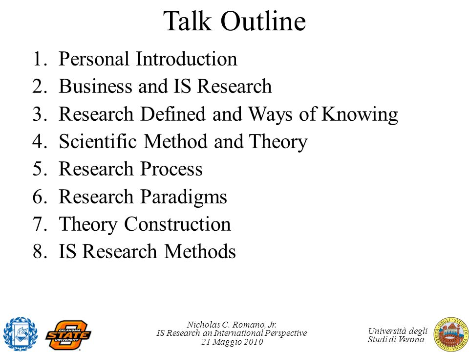 Talk Outline Personal Introduction Business and IS Research