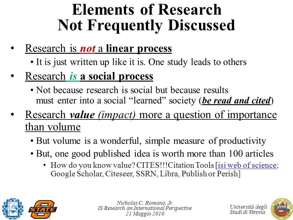 Elements of Research Not Frequently Discussed