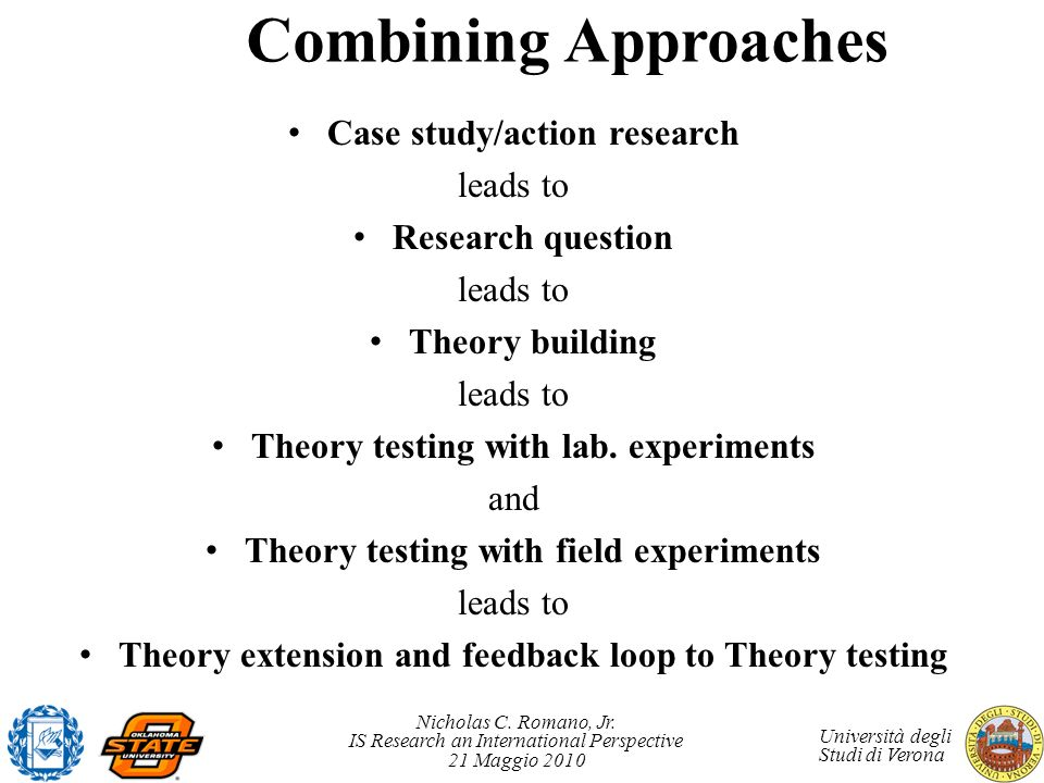 Combining Approaches Case study/action research leads to