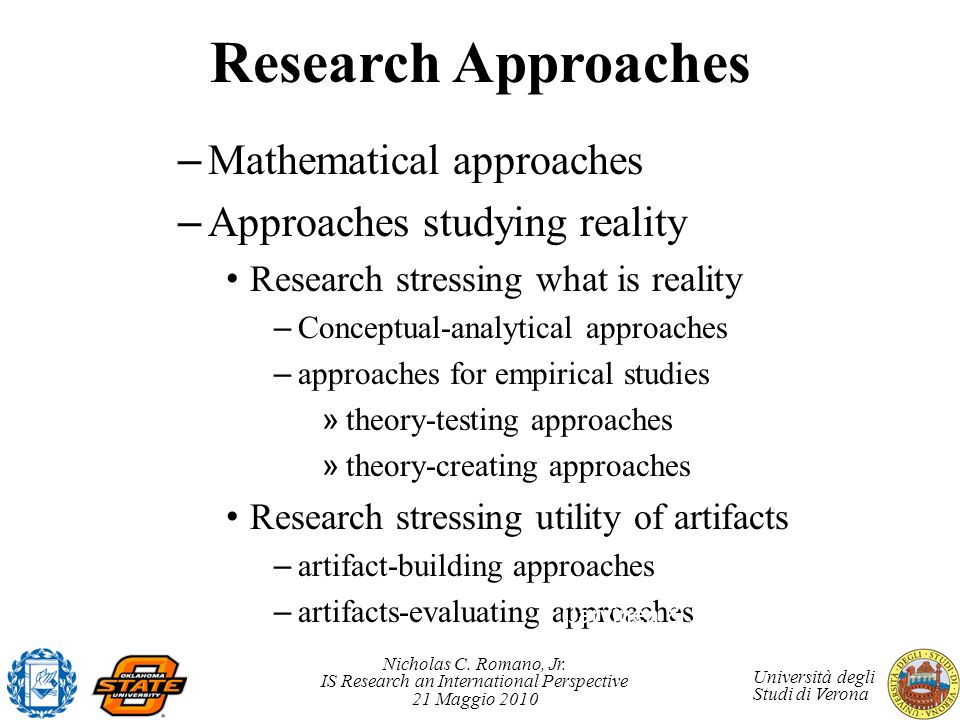 Research Approaches Mathematical approaches