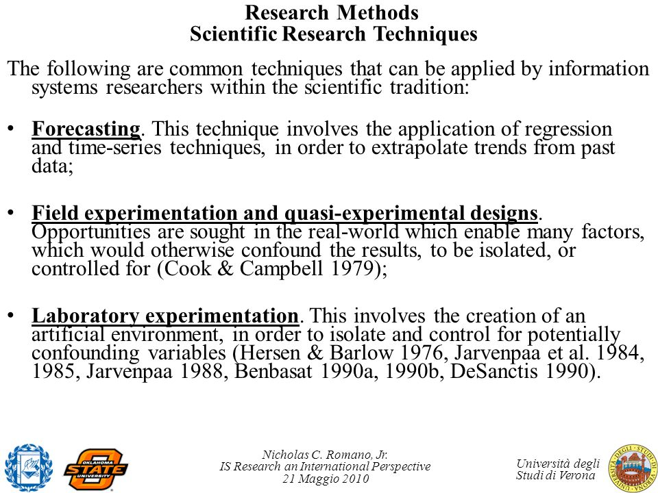 Research Methods Scientific Research Techniques