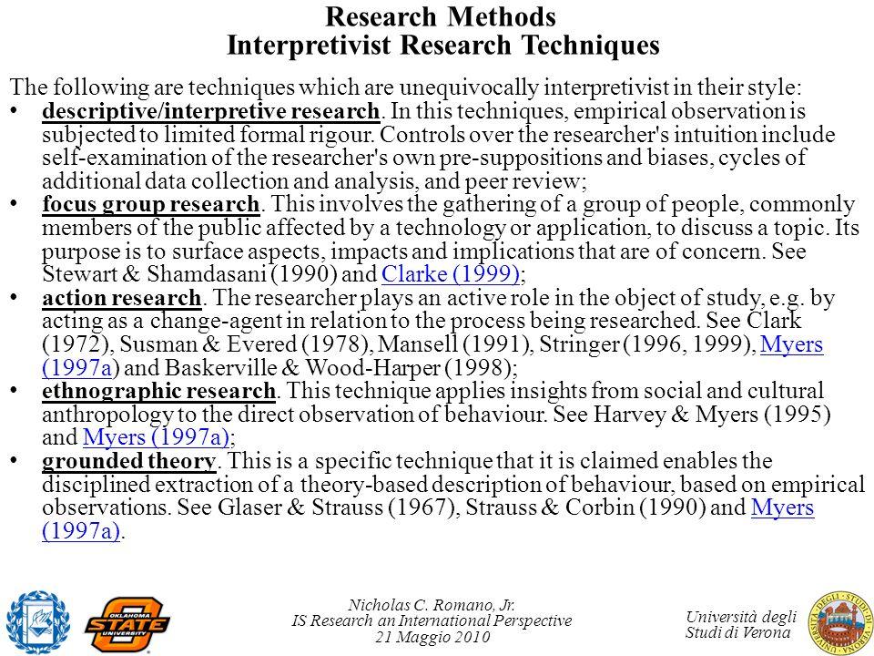 Research Methods Interpretivist Research Techniques