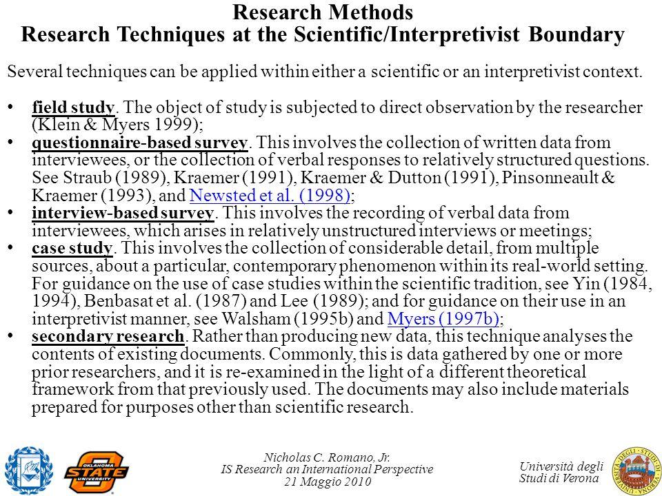 Research Methods Research Techniques at the Scientific/Interpretivist Boundary