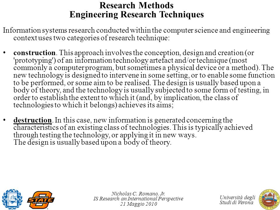 Research Methods Engineering Research Techniques