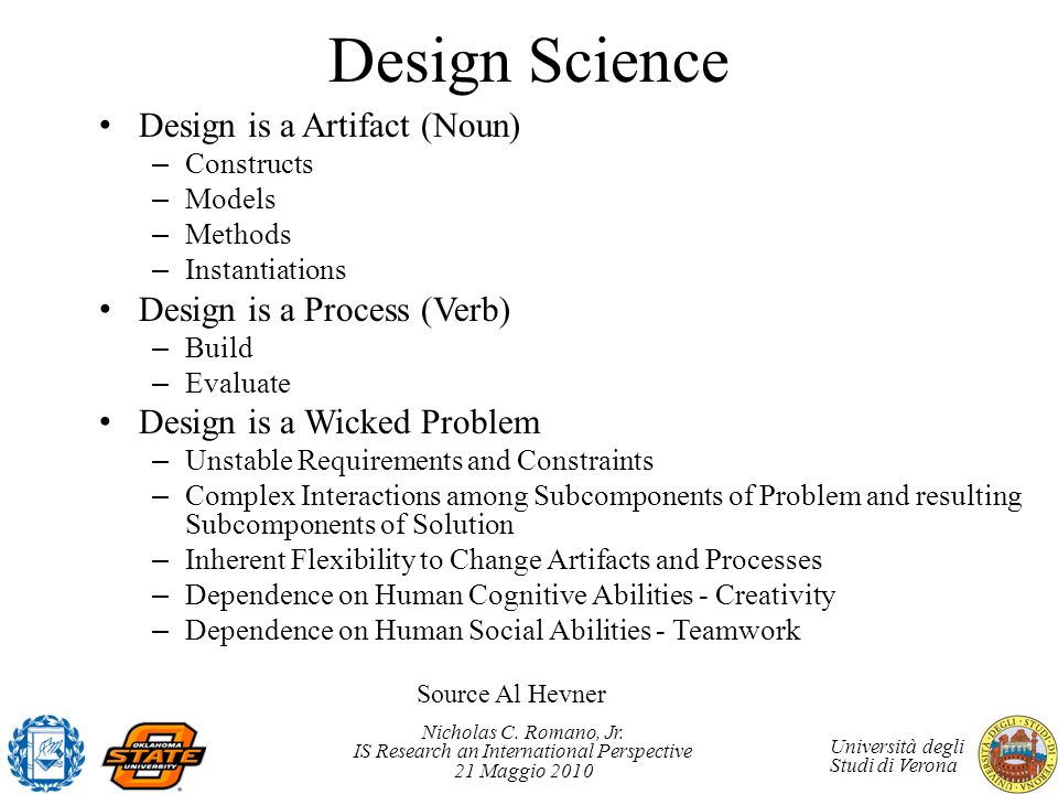 Design Science Design is a Artifact (Noun) Design is a Process (Verb)