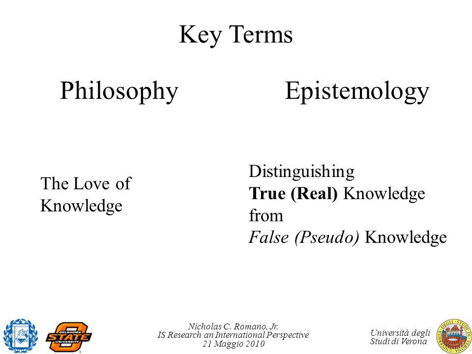 Key Terms Philosophy Epistemology