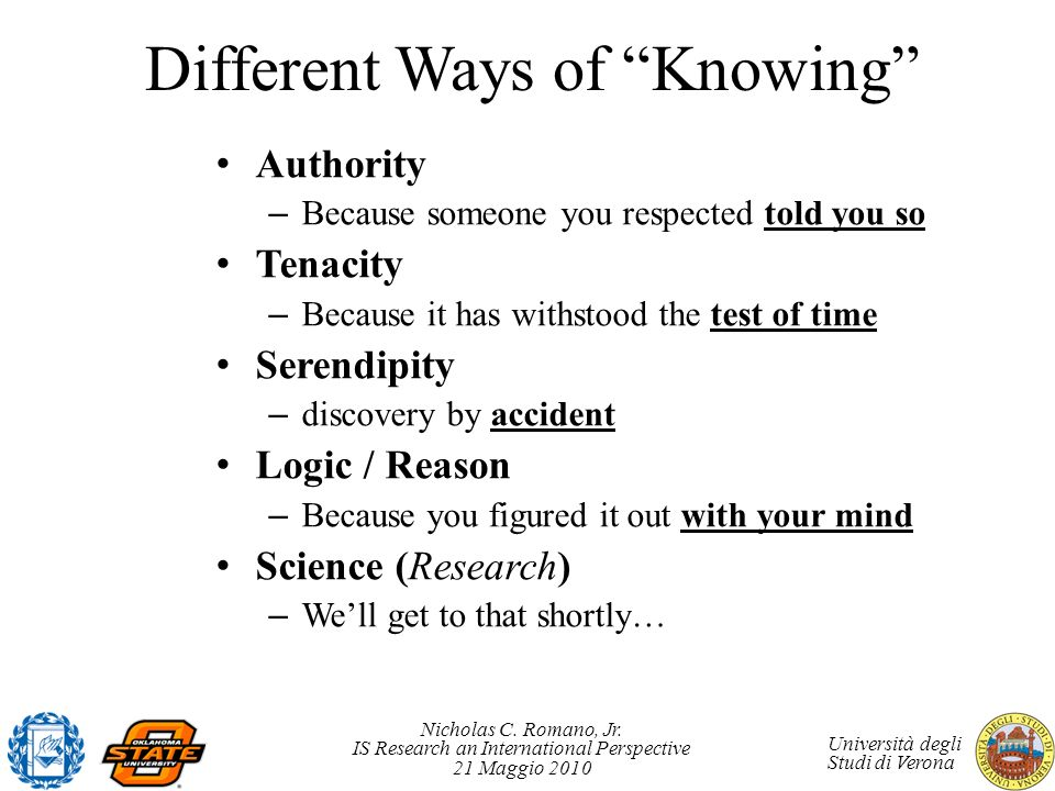 Different Ways of Knowing