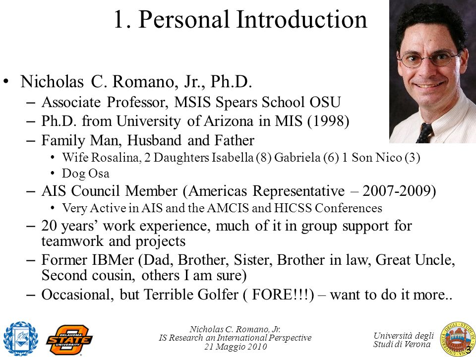 1. Personal Introduction