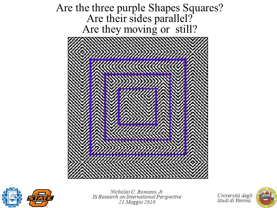 Are the three purple Shapes Squares. Are their sides parallel