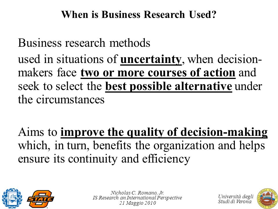 When is Business Research Used