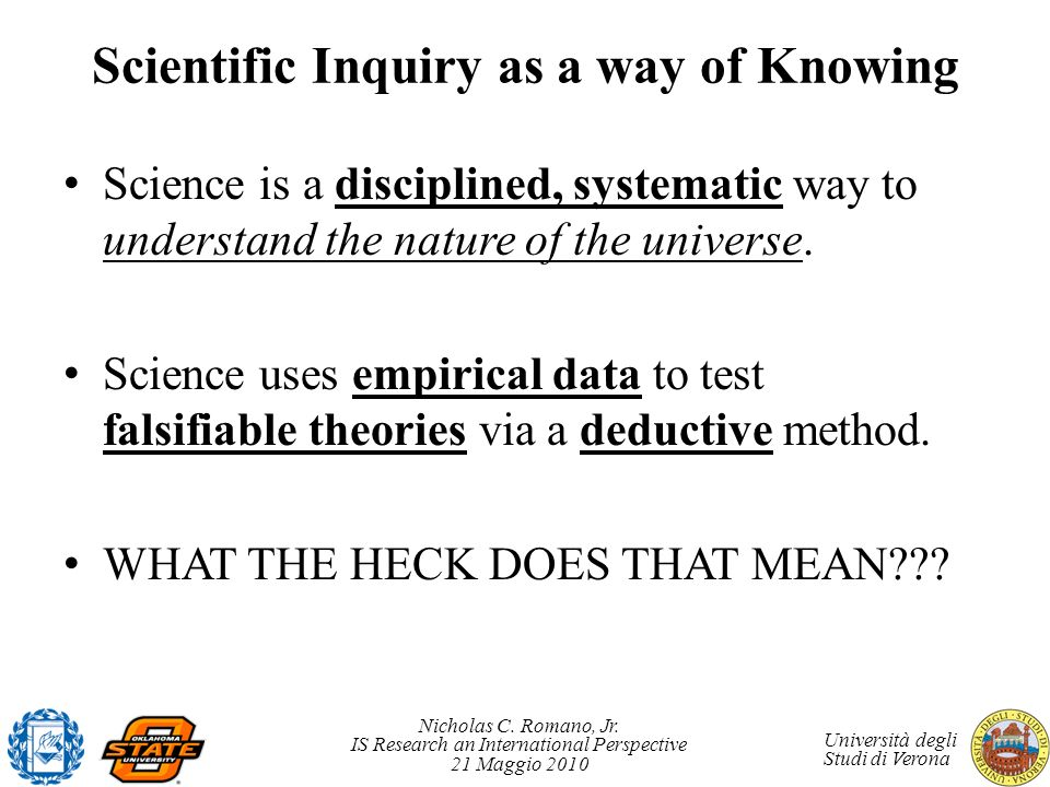 Scientific Inquiry as a way of Knowing