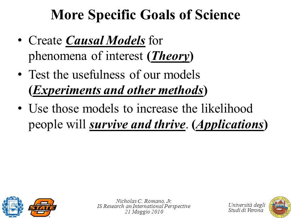 More Specific Goals of Science