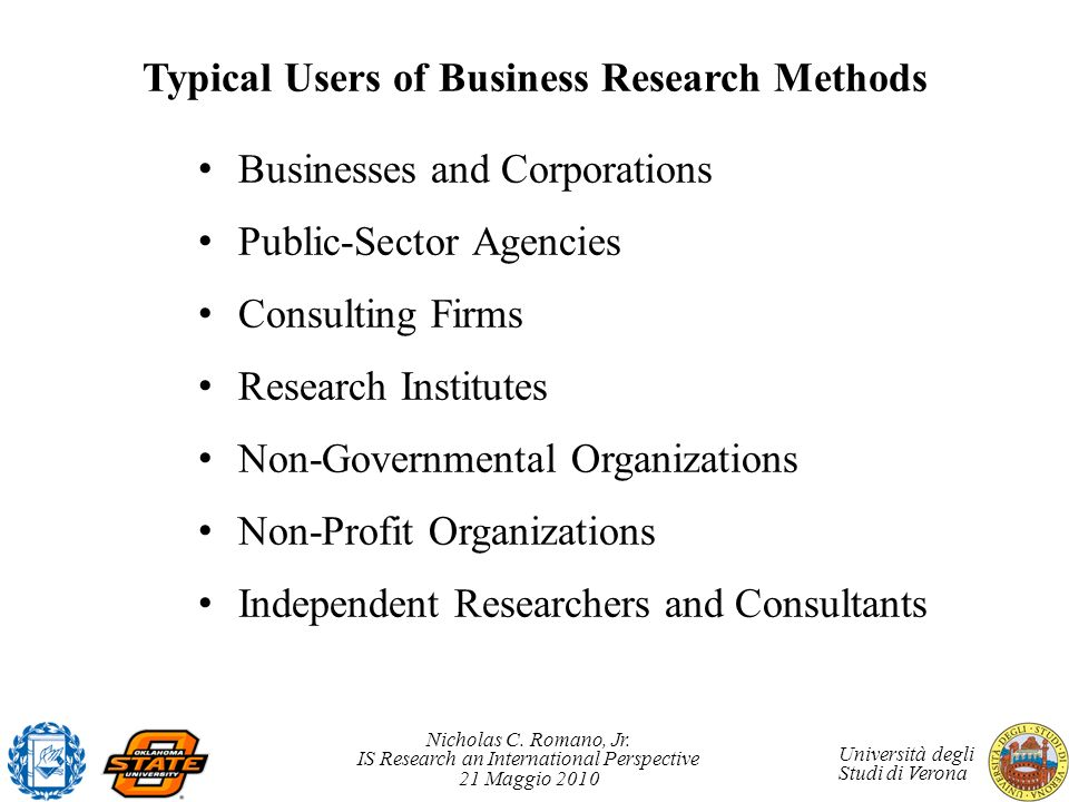 Typical Users of Business Research Methods