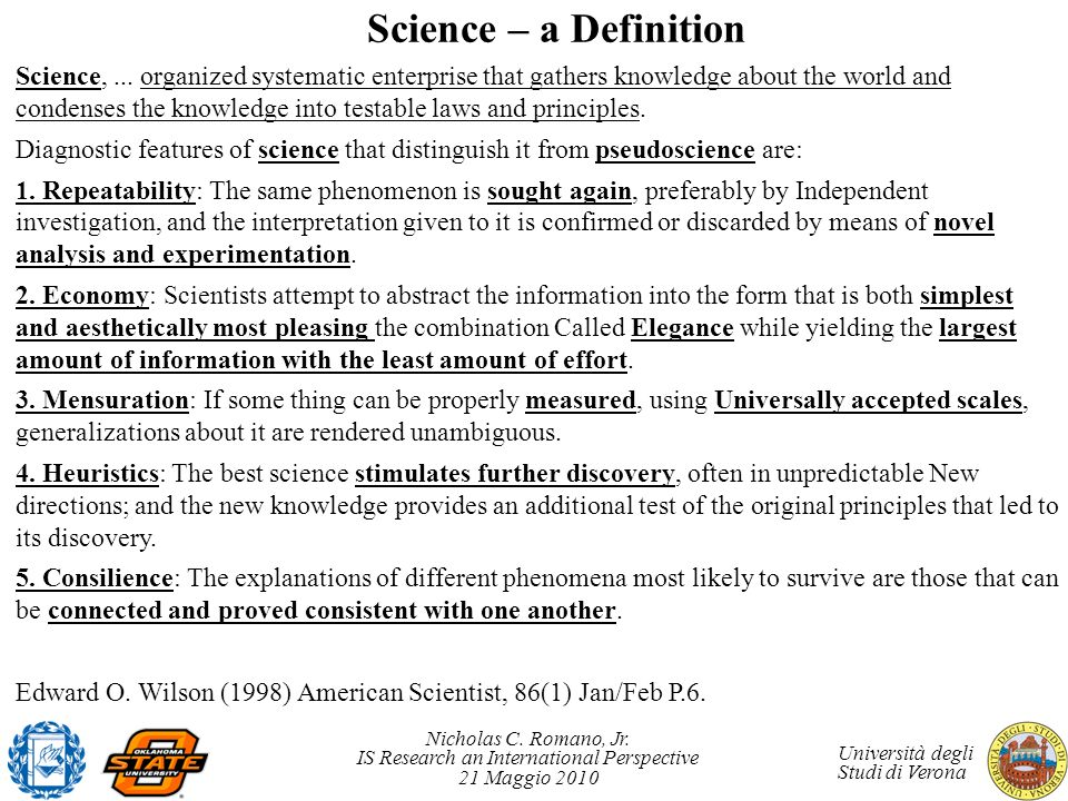 Science – a Definition