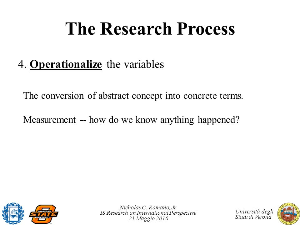 The Research Process 4. Operationalize the variables
