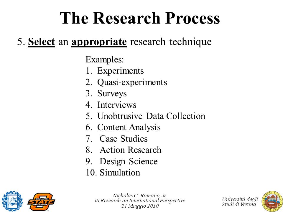 The Research Process 5. Select an appropriate research technique