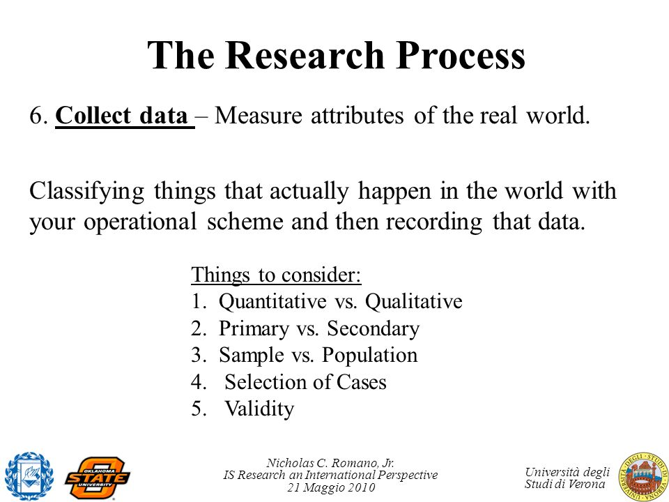 The Research Process 6. Collect data – Measure attributes of the real world.