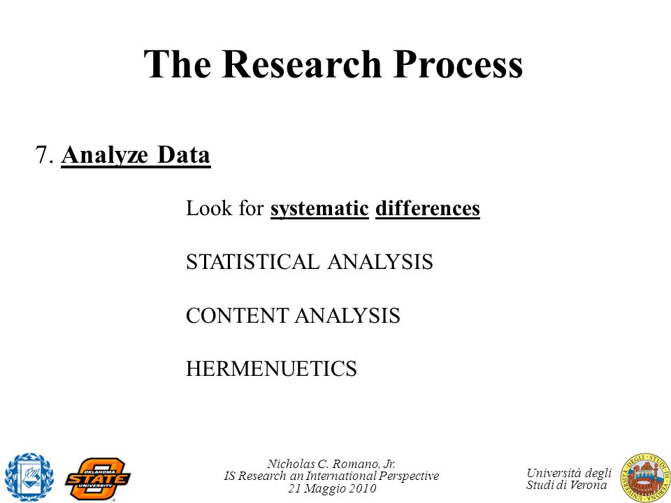The Research Process 7. Analyze Data Look for systematic differences