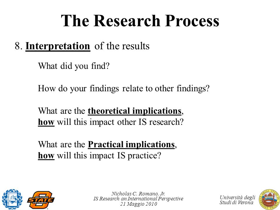 The Research Process 8. Interpretation of the results