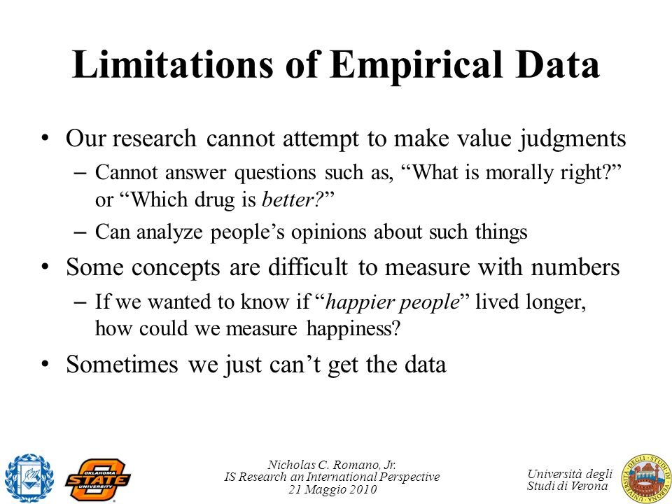 Limitations of Empirical Data
