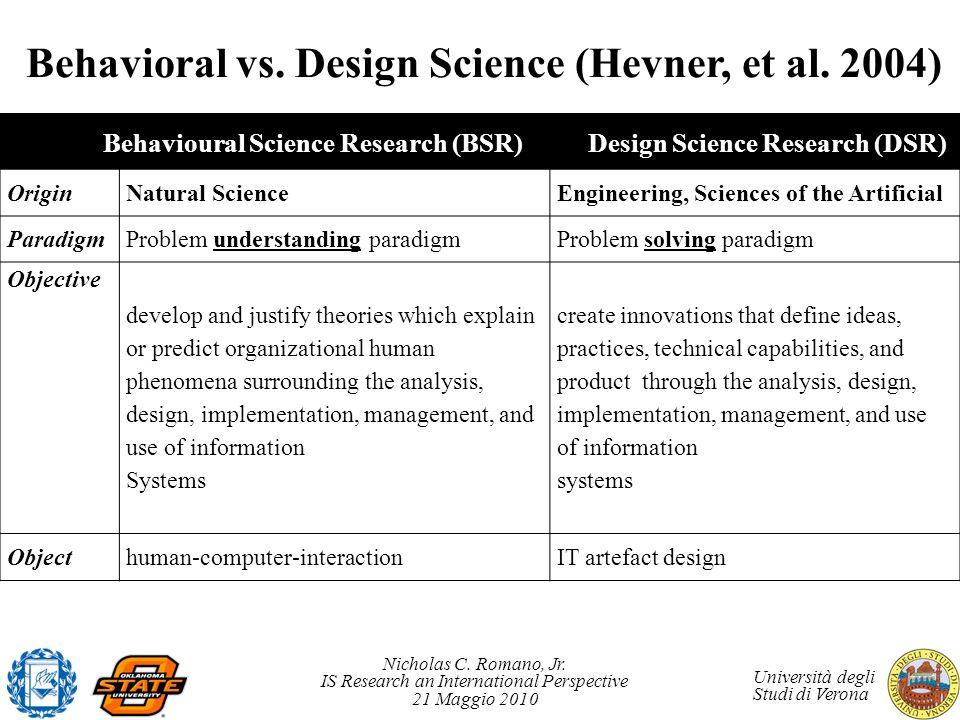 Behavioral vs. Design Science (Hevner, et al. 2004)