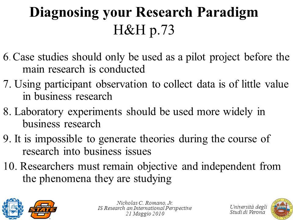 Diagnosing your Research Paradigm H&H p.73