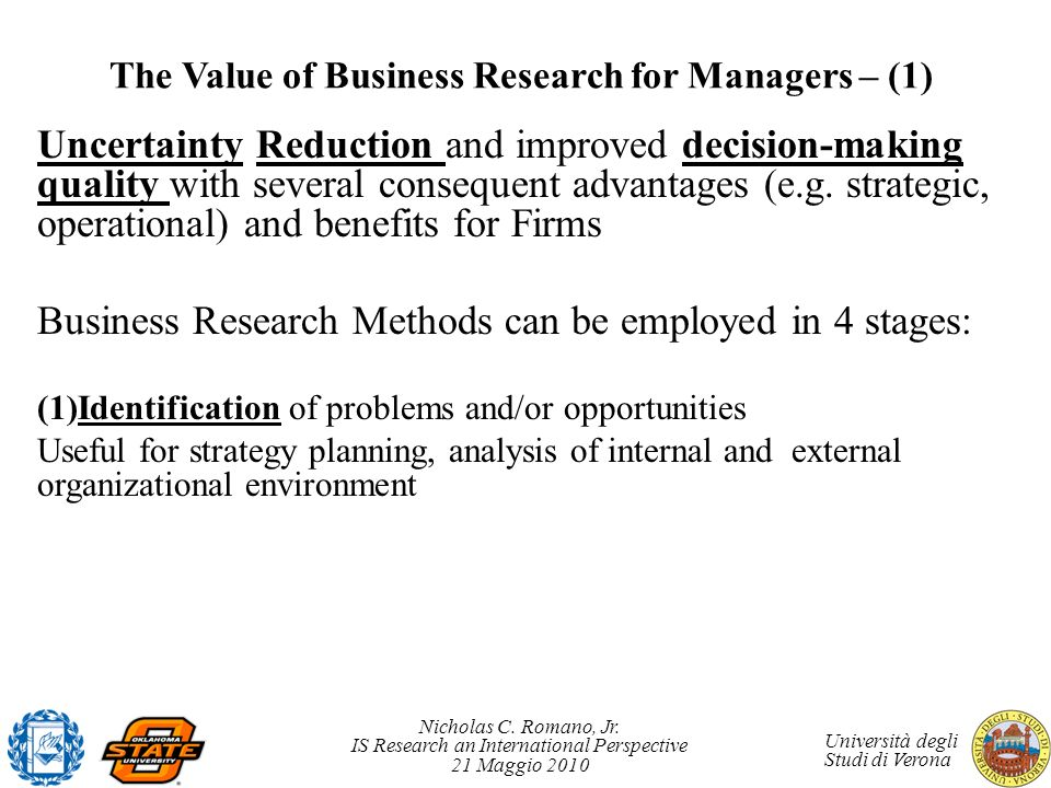 The Value of Business Research for Managers – (1)