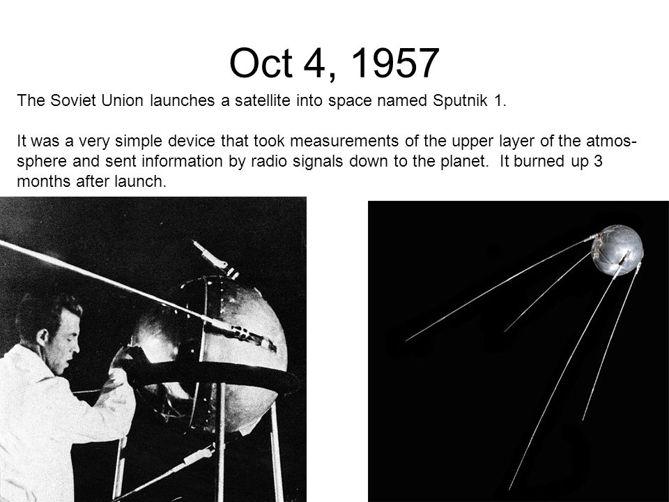 an analysis of the topic of the soviet satellite sputnik History changed on october 4, 1957, when the soviet union successfully launched sputnik i the world's first artificial satellite was about the size of a beach ball (58 cmor 228 inches in diameter), weighed only 836 kg or 1839 pounds, and took about 98 minutes to orbit the earth on its.
