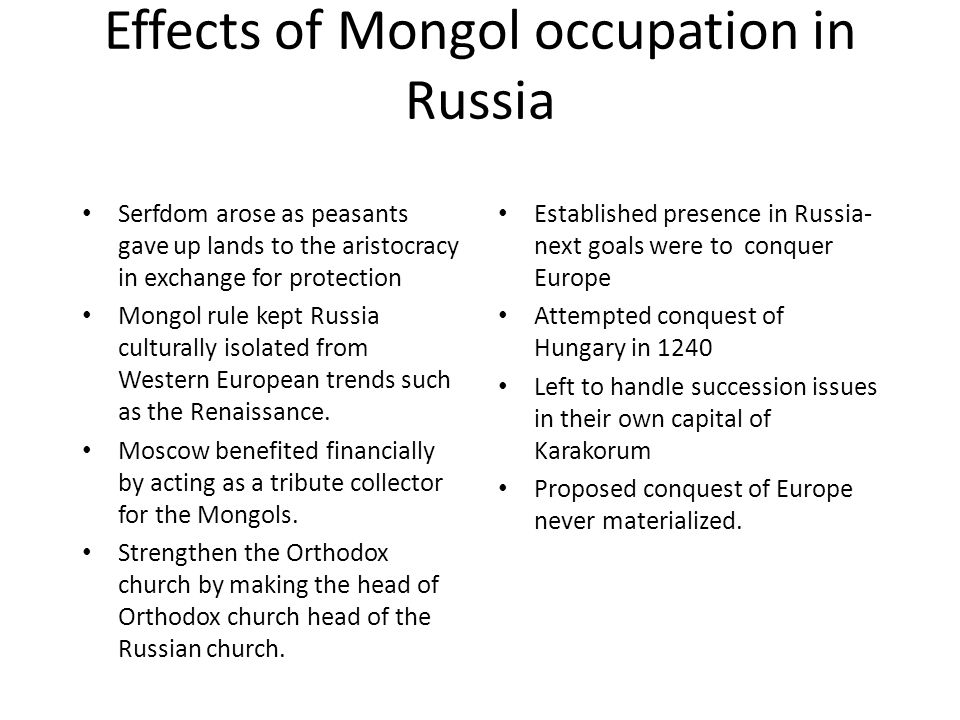 mongol effect on china and russia China and the mongol empire  if you recall from the previous lesson on china, various dynasties were following each other with.